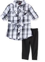 Dollhouse Black & White Plaid Tunic & Leggings - Infant Toddler & Girls