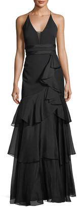 Aidan Mattox Sleeveless Tiered Chiffon Gown