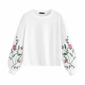 FNKDOR Women Shirt Floral Print Long Sleeve Round Neck Botanical Sleeve Short Autumn Spring Warm Pullovers Sweatshirt Top