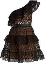 SELF-PORTRAIT One-shoulder Guipure-lace mini dress