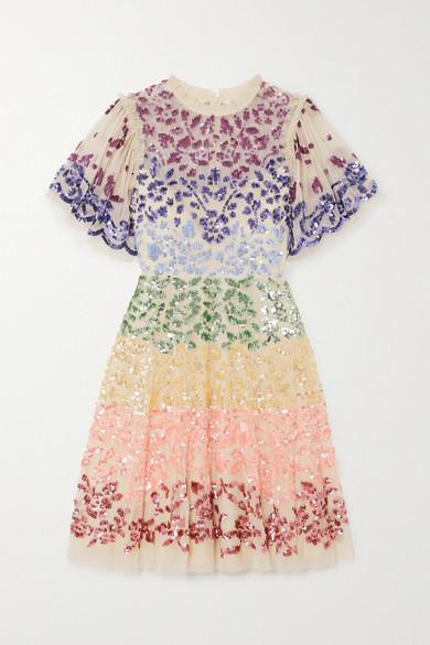 Needle & Thread Jasmine Hemsley Chakra Sequin-embellished Tulle Mini Dress - White