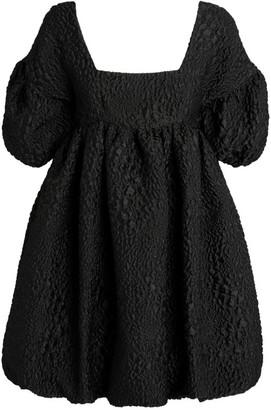 Kika Vargas Puff-Sleeve Smock Dress