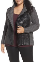 Nic+Zoe Plus Size Women's Cable Knit & Leather Jacket