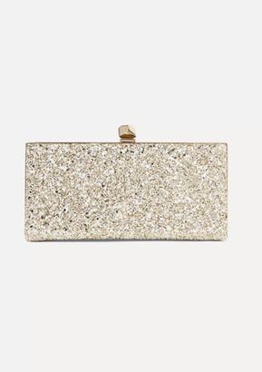 Jimmy Choo Celeste Glittered Leather Clutch - Beige