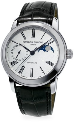 Frederique Constant Classics Moonphase Manufacture Automatic Stainless Steel & Leather Strap Watch