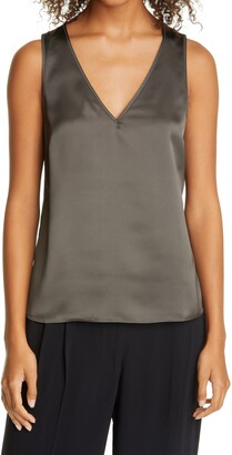 Club Monaco V-Neck Satin Tank