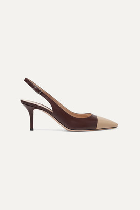 Gianvito Rossi Lucy 70 Two-tone Leather Slingback Pumps - Merlot