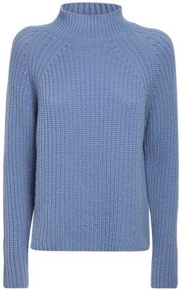 Max Mara Wool Rib Knit Mock Neck Sweater