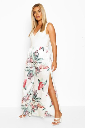 boohoo Plus Tropical Print Wide Leg Satin Pants
