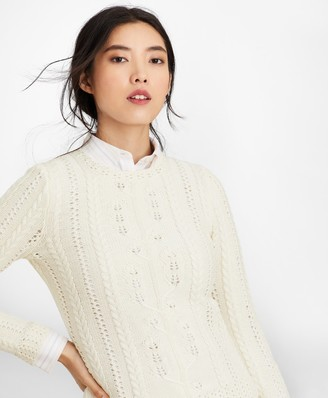 Brooks Brothers Supima Cotton Pointelle Cable-Knit Sweater