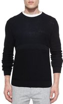 Vince Multi-Stitch Crewneck Sweater, Black