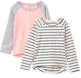 U.S. Polo Assn. Vanilla & Black Stripe Hi-Low Tee Set - Girls