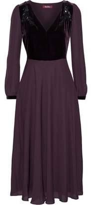 Max Mara Odissea Embellished Velvet-paneled Silk Crepe De Chine Midi Dress