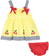 Sweet & Soft Yellow Cherry Seersucker A-Line Dress & Red Diaper Cover