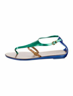 Sergio Rossi Capri Rubber Thong Sandals green