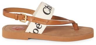 Chloé Woody Flat Leather Thong Slingback Sandals