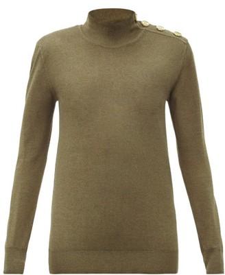 Balmain Button-shoulder Wool-blend Sweater - Khaki