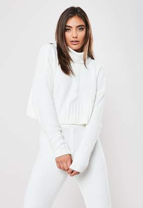 Missguided White Co Ord Chenille Roll Neck Cable Jumper