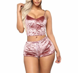 Eucoo Femme EUCoo Women's 2-Piece Pyjama Lingerie Set with Shorts and Short Vest with Shoulder Straps Velvet Stripes Crop Outfit Women Summer Chic Clothing