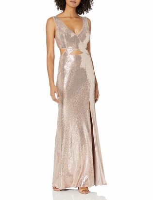 BCBGMAXAZRIA Women's Sequin Cutout Gown
