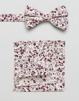 Asos Floral Bow Tie And Pocket Square Pack