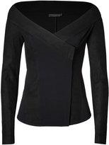 Donna Karan Leather Trimmed Jacket in Black