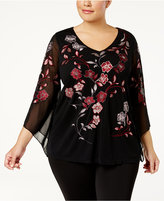 Alfani Plus Size Embroidered Split-Sleeve Top, Created for Macy's