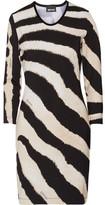 Just Cavalli Zebra-Print Velour-Trimmed Stretch-Jersey Mini Dress