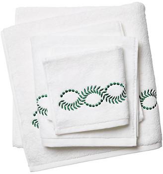Hamburg House Wheat Towel Set - White/Green