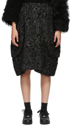 Comme des Garcons Black Textured Midi Skirt