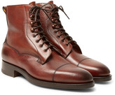 Edward Green Galway Cap-toe Pebble-grain Leather Boots - Brick