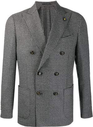 Lardini houndstooth check double-breasted blazer