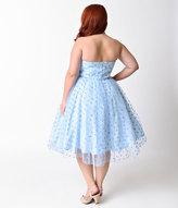 Unique Vintage Plus Size 1950s Periwinkle Swiss Dot Dandridge Swing Dress