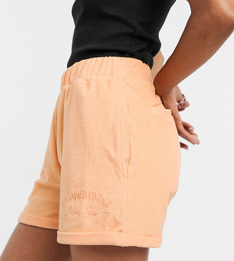 Reclaimed Vintage towelling short co ord in orange