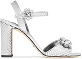 Dolce & Gabbana Bianca Crystal-embellished Metallic Leather Sandals - Silver