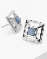 White House Black Market Cutout Square Sodalite Earrings