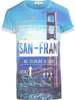 River Island MensBlue San-Fran luggage tag print t-shirt