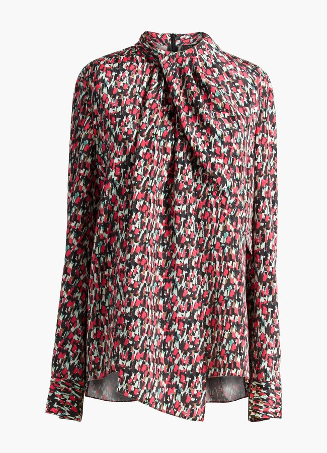 St. John Speckled Print Drape Neck Blouse