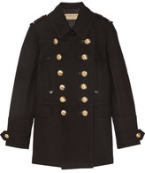 Burberry Leather-trimmed Wool-blend Coat - Black
