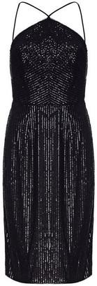 Adrianna Papell Stripe Sequin Halter Midi Dress