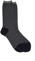 Antipast Women's Striped Mid-Calf Socks-BLUE