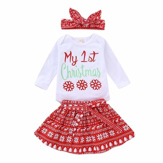 Qinngsha Newborn Infant Toddler Baby Girl My First Christmas Long Sleeve Romper+ Christmas styleSkirt+Headband Outfit Set 3PCS Red