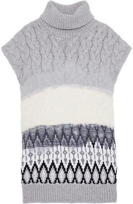 Prabal Gurung Cable Knit-paneled Wool-jacquard Turtleneck Sweater