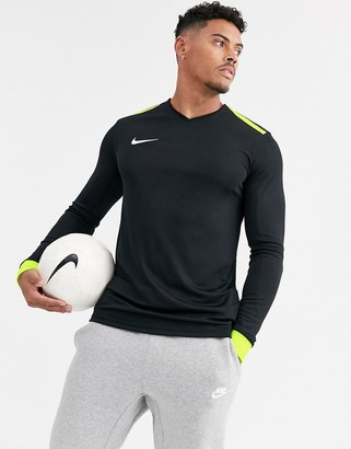 Nike Football long sleeve t-shirt in black with constast panel and cuffs