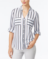 Amy Byer Juniors' Striped Roll-Tab Blouse