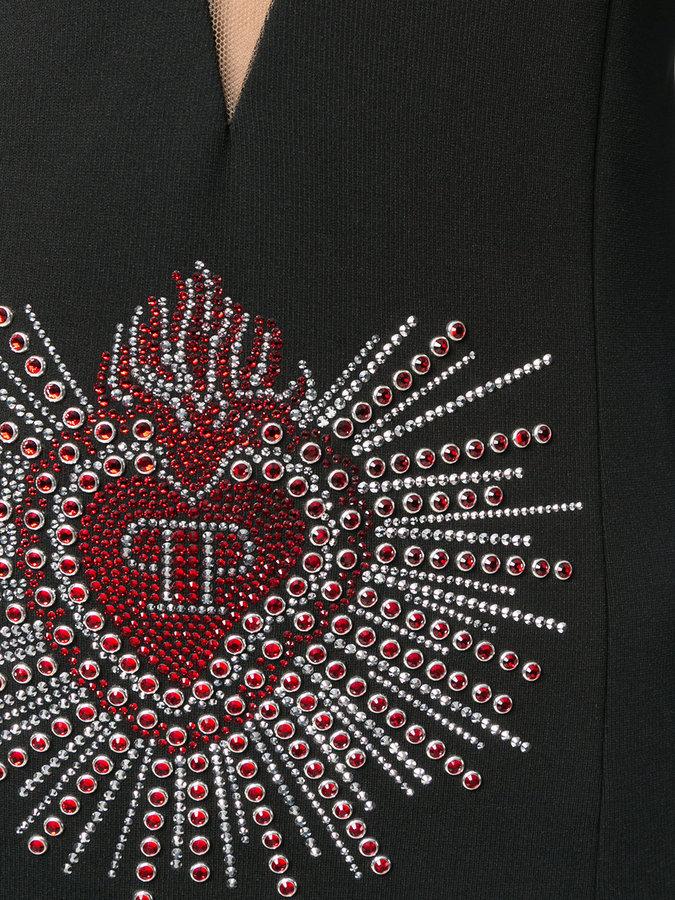 Philipp Plein embellished logo plunge dress