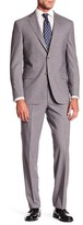 David Donahue Ryan Beige Windowpane Two Button Notch Lapel Wool Classic Fit Suit