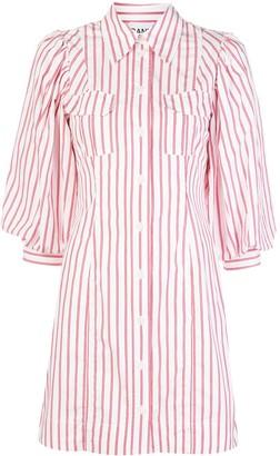 Ganni Striped Print Shirt Dress
