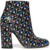 Marc Jacobs Cora Printed Glossed Snake-Effect Leather Ankle Boots