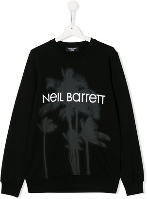Neil Barrett Kids TEEN palm tree motif sweatshirt